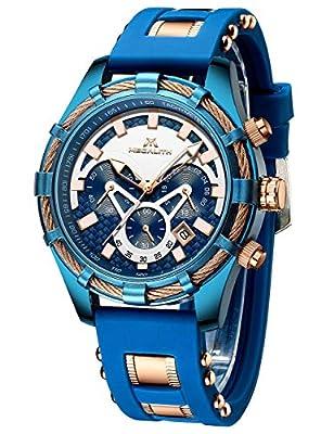 Relojes Hombre Relojes de Pulsera Militares Deportivo Impermeable Cronógrafo Luminosos Diseñador Reloj de Cuero Azul Moda Calendario Analógico Cuarzo