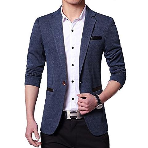 delamode Herren Business One Button Blazer Leder Pocket Scrub Farbe Anzug Smoking Gr. M, blau