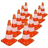 ECD-Germany 10 pièces Cônes de signalisation Pylone - Blanc Orange - Hauteur 50 cm - Cônes de sécurité - Capuchons de marquage