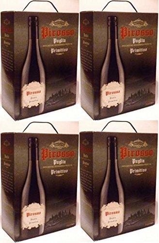 4-x-PIROSSO-PUGLIA-PRIMITIVO-APULIEN-Bag-in-Box-3-Liter-ITALIEN