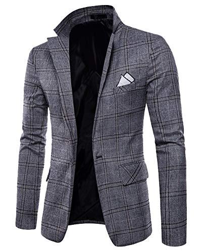 Suncaya Uomo Slim Fit Casual One Button Abiti Formali Giacca da Smoking Blazer dAffari Outwear Grigio M