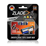 Zlade 6 Blade Shaving Cartridges, Fit All Zlade Razors, Made in Germany - Pack of 2