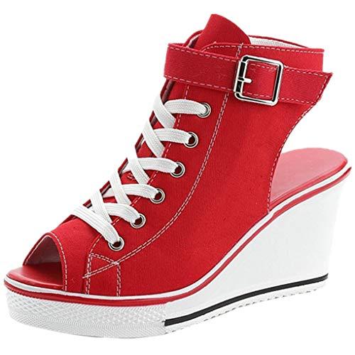 Dorical Damen Canvas Sportschuhe Sneaker Turnschuhe Laufschuhe mit Keilabsatz Bequeme Schnalle Fischmaul Sandalen Größe 35-43 Reduziert(Rot,43 EU)