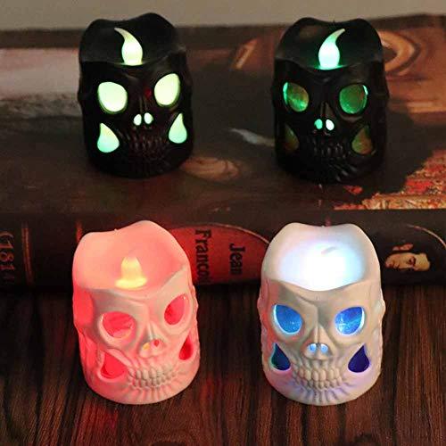 lcym Halloween deko Led Kerzen, Skelett Kerzenlicht Flackern Tee Lichter für Weihnachten Halloween Party schrecklich Atmosphäre Bar Dekoration Partyzubehör(4 teiliges Set)