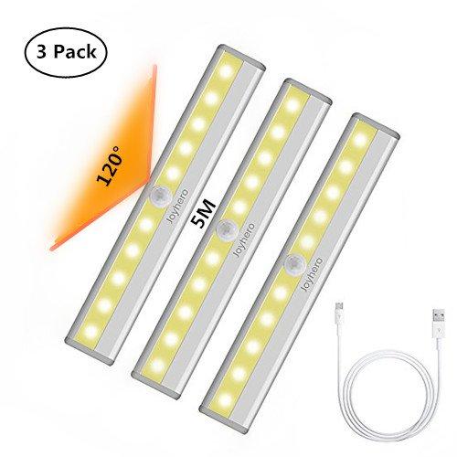 Joyhero 3er Lampe Schrankbeleuchtung Led Bewegungssensor USB, aufladbar Warmweißes Licht, Bewegungsmelder Licht mit 10 LED kabellos mit Magnetstreifen, ideal für Schrank Küche Gang Treppen
