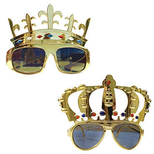 Robelli King & Queen Gold Crown Metallic Sunglasses (2 Pack)