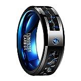Nuncad Damen Herren Unisex Ring aus Wolfram mit Kohlefasern und Zirkon 8mm Schwarz + Blau für Geschenk Hochzeit Freizeit Fashion Größe 57 (17)