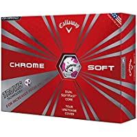Calaway Chrome Soft Bolas de Golf, Blanco/Rosa, Talla Única