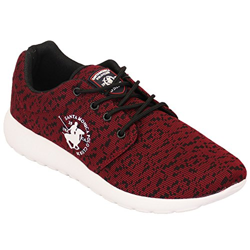 Baskets Hommes Santa Monica Polo Club Chaussures Escarpins Talon Haut À Lacets Baskets Course Gym Bordeaux - HICKORY