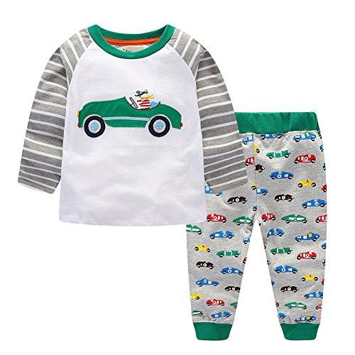 Zooarts für 2-7Jahre Kinder Jungen Mädchen Little Auto Print Lange Ärmel Jumper Tops + Hose Strampler Outfit Winter Kleidung Set, Baumwollmischung, Multi, 4T -