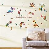 ufengke Adesivi Murali Pappagallo Uccelli Adesivi Muro Fiore Acquerello per Bagno per Camera da Letto Soggiorno Casa