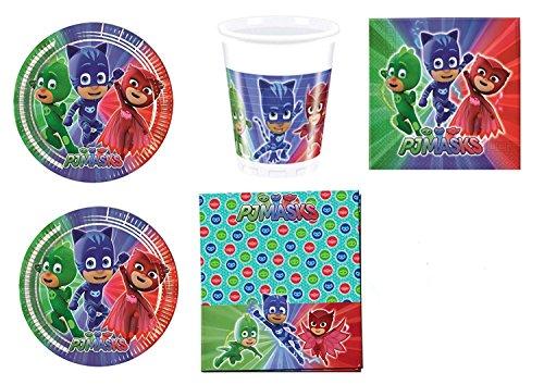 Casa Dolce Casa - Kit n° 3 - Service de table pour fête, motif Pyjamasques (40 assiettes, 40 gobelets, 40 serviettes)