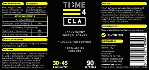 Time 4 CLA Capsules – 90 x 1000mg Softgel Capsules – CLA 1000mg Capsules not CLA Tablets – Ultra High Strength Pharma…