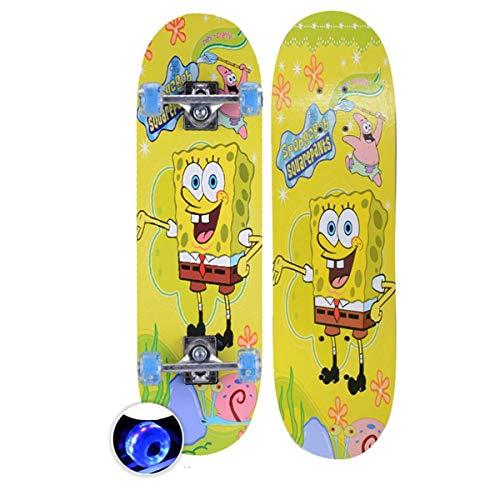 rd Komplett Longboard Double Kick Skateboard Cruiser 8 Lagen Ahorn Deck für Extremsport und Outdoor, 6,72cm ()