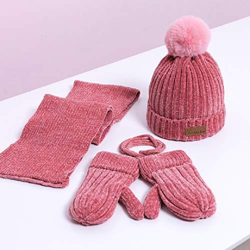 3Pcs-Kinder Schals Hut Handschuhe Set, Strickmütze Schal Und Handschuhe Weiche Warme Winter Accessoires Plüschfutter Geeignet for Kinder Ab 3 Monaten Bis 3 Jahre Alt (Farbe : #8)