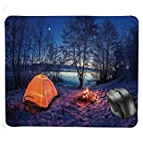 Gaming Mouse Pad,Dark Night Camping Tent Photo in Winter on Snow Covered Lands by The Lake Mouse Pad