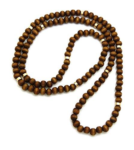 Braune Holzperlen Farbige Metallscheibe 8 mm 91,4 cm Halskette, Gold-ton (Braune Holzperlen)