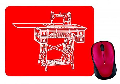 "Preisvergleich Produktbild Mauspad ""NÄHMASCHINE- ANTIK- NÄHEN- ALTE- RETRO- JAHRGANG"" in Rot | Mousepad - Mausmatte - Computer Pad - Mauspad mit Motiv"