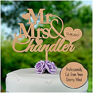 PERSONALISED Wedding/Anniversary WOODEN Cake Topper - Personalise with ANY SURNAME and ANY DATE - Mr And Mrs Cake Decoration - Made from Cherry or MDF