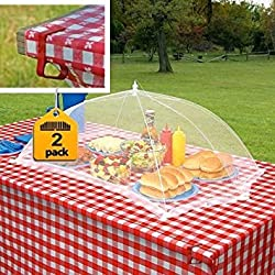 Prextex set of 2 giant food tents with 4 tablecloth clamps that will keep your picnic tablecloth in place