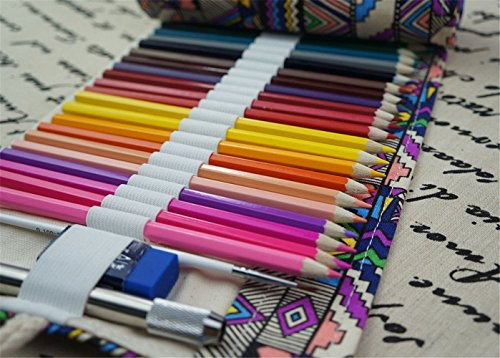 Estuche para Lápices Escolar Enrollable Portalápices de Dibujos de Lona Papelería Organizador para Oficina para Estudiantes Niño Niñas