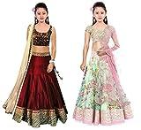 #7: Market Magic World Girl's Maroon & Pista Banglori, Bhagalpuri Semi Stitched Combo Pack lehenga Choli, Salwar Suit, Gown (Kids Wear_Free Size_8-12 Year age)