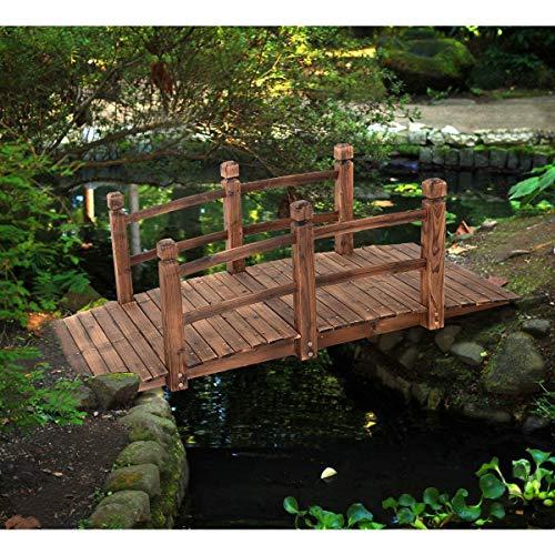 COSTWAY Puente de Jardín Madera para Estanque Jardín Hogar Decorativo con Barandilla 150x67x55 cm