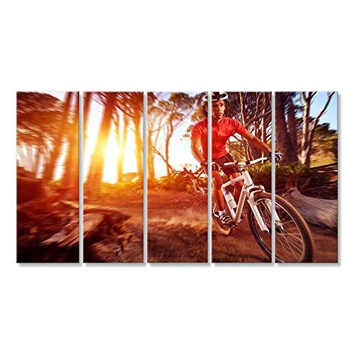 islandburner Cuadro Cuadros Movimiento de Acción Blur Ciclista de Bicicleta de Montaña Haciendo Downhill Ciclismo Extremo Sobre Lienzo Formato Grande Listo para Colgar estupendo