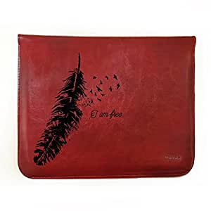 """Hamee 8-Inch Tabcase Tan Brown Leather Tablet Case / Sleeve / Pouch for Kindle Voyage """"I am Free"""""""
