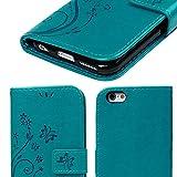 iPhone 6s Handyhülle KASOS Case für iPhone 6 Flip Case Ledertasche Schutzhülle Leder Huelle Stand Halter Magnetverschluss Schmetterling Blumen ,Blau + Schutzfolie + Staubschutz + Eingabestift -