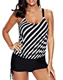 Viloree Damen Badeanzug Bademode One-Piece Badekleid Push Up Bauchweg gestreift 2XL