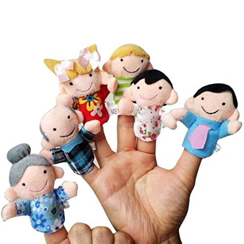 Elecenty 6PCS Handpuppen Spielzeug Fingerpuppen, Weiche Pädagogische Set Puppen Spielzeug für Kleinkinder und Baby Niedlichen Cartoon Tier Puppe (13 cm, Mehrfarbig) - Spielzeug Für Weiches Kleinkind
