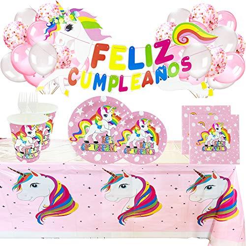 Fiesta Cotigo Vajilla Desechable Cumpleaños Unicornio Rosa,para 16 Personas,Incluye Platos, Vasos, Mantel,...