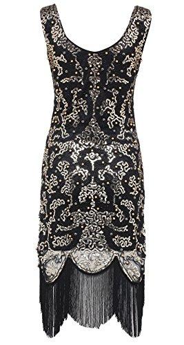 Babeyond Damen Pailletten Knielang Kleider mit Troddel Offener Ausschnitt Ohne Arm Damen Retro Kostüm Party Kleid Abbildung 3