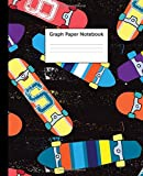 Graph Paper Notebook: Quad Ruled 5 x 5 (.20'') Graphing Paper Composition Book for Math & Science Students, 5 Squares per Inch, Large - Cool Skateboard Print for Boys and Girls