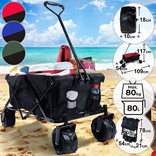 Chariot de Transport | Pliable, avec Roues, Charge Max. 80kg, 117x54x109cm, Couleur au Choix | Remorque, Charette de Transport, Jardin, à Main (Rouge/Noir)