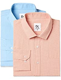 Ex by Excalibur Men's Solid Regular Fit Formal Shirt (Pack of 2)
