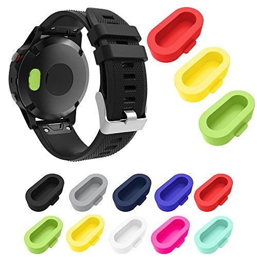 XIHAMA für Garmin Fenix 5 / 5S / 5X Staubstecker, Silikon-Ladegerät Port Protector Anti Dust Plugs Kappen für Garmin Fenix 5 / 5S / 5X / Forerunner 935 Smart Watch (10 Stück) (Multi Color) Port Protector