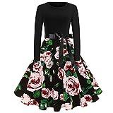 Makefortune Frauen Elegantes Audrey Hepburn Kleid O-Ausschnitt Vintage Blumendruck Langarm A-Linie Partykleid Hoch Taille Plissee Kleid Ballkleid