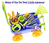 Garden Wagon & Tools Toy Set by Dimple: Premium 15-Piece Gardening Tools