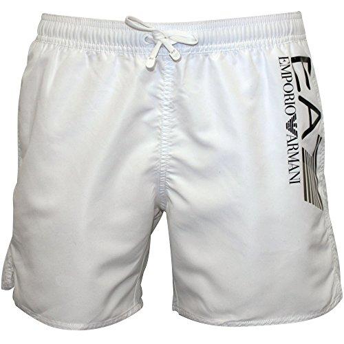 Emporio Armani EA7 Large Logo Men's Swim Shorts, White with Black