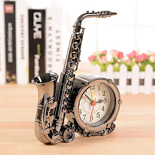 TtKj Saxophon Alarm Clock Creative Antik Home Desktop-Schmuck Uhr 13 * 18cm