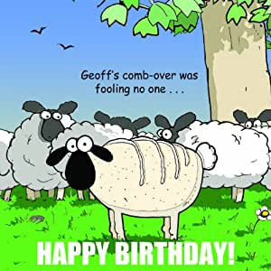 Twizler Funny Birthday Card with Sheep For Man - Happy