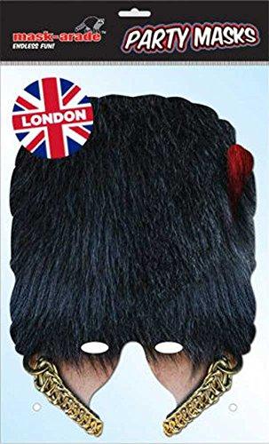 Coldstream Guard Bearskin Maske aus hochwertigem Glanzkarton, mit (Guard Kostüme Herren)