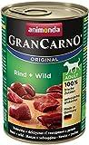 Animonda GranCarno Hundefutter Adult, Nassfutter für ausgewachsene Hunde von 1 – 6 Jahren, Rind und Wild, 6er Pack (6 x 400g)