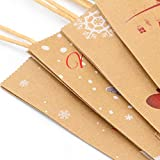 Elcoho 12 Pieces Christmas Kraft Bags Holiday Party Bag Shopping Bags Paper Bags with Handle for Christmas Decorations Bild 4