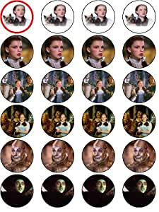 WIZARD OF OZ 24 EDIBLE WAFER - RICE PAPER CAKE TOPPERS EACH DESIGN IS 40mm IN DIAMETER
