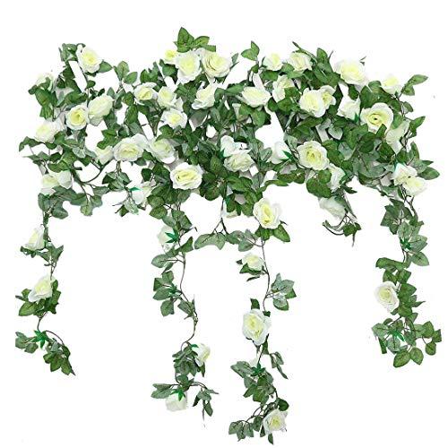 JUSTOYOU 2 Pack 7.2ft Künstliche Fake Rose Girlande Reben Hängende Seide Blumen für Outdoor Indoor Hochzeit Wand Badroom Dekoration (Weiß)