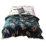 Stillshine Weich und bequem Fleece-Decken Für Erwachsene und Kinder 100% Polyester Flanell Bettdecke Für Home Bettwäsche Sterne Werfen Decken Auf Die Bett (Blaue Blätter, 200cm*230cm)