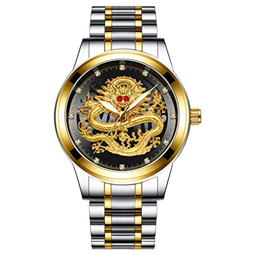 Armband für Herren/Skxinn Männer Quartz Uhrenarmband mit Edelstahl Uhrarmband,Fashion Embossed Diamond Dragon Face Watch,Casual Herrenuhr Ausverkauf(G)
